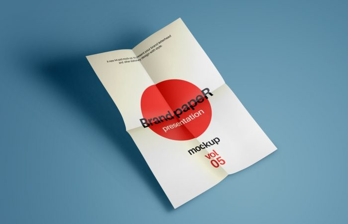 Bold Red Logo And Folded Paper Mockup